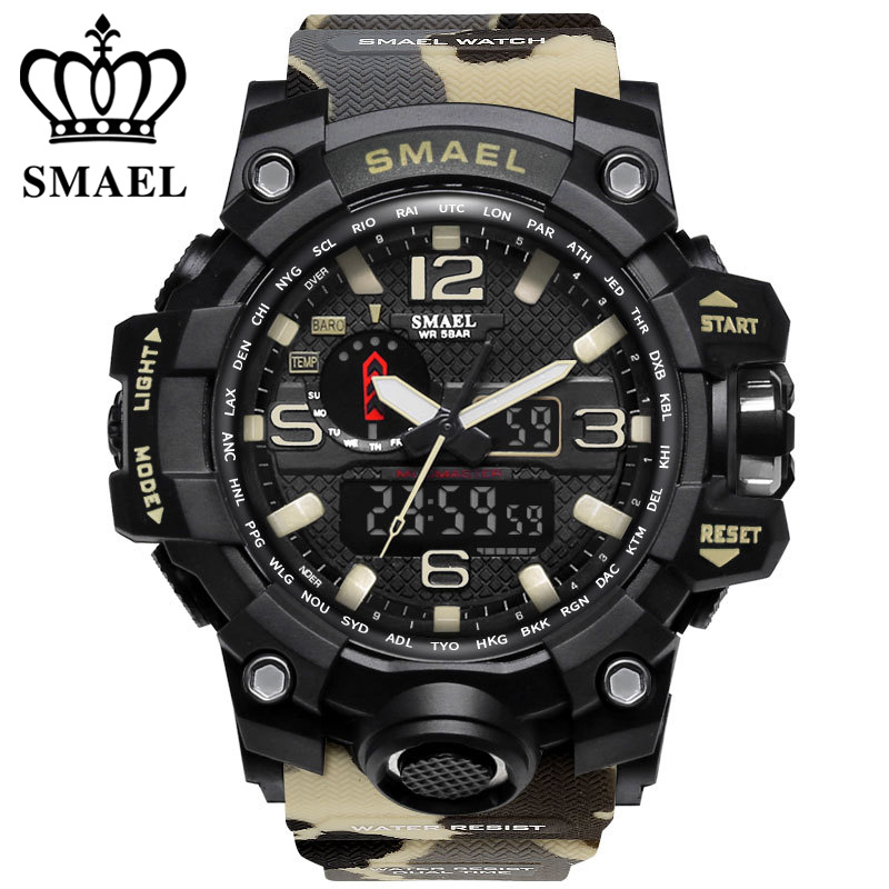 Luxury brand watches men sports dual display mens quartz watch waterproof 50m LED digital analog wrist watch gift clock