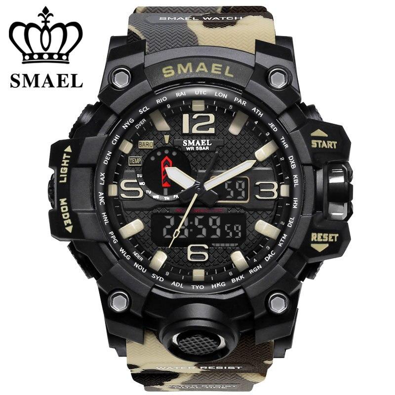 Luxusmarke uhren männer sport dual-display-herrenuhr quarzuhr wasserdicht 50 mt LED digital analog armbanduhr geschenk uhr