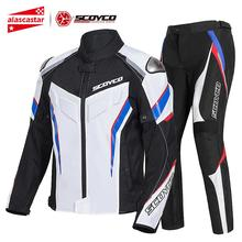 SCOYCO Summer Motorcycle Jacket+Moto Pants Breathable Reflective Motocross Chaqueta Moto Jacket Riding Armor