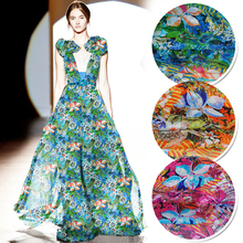 1 meter printed silk chiffon fabric for sewing 6 mm pure mulberry fabrics tissu tulle quilting patchwork cloth leaves