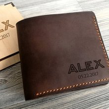 Personalized names Mens Wallet Leather Gift for Him Groomsme