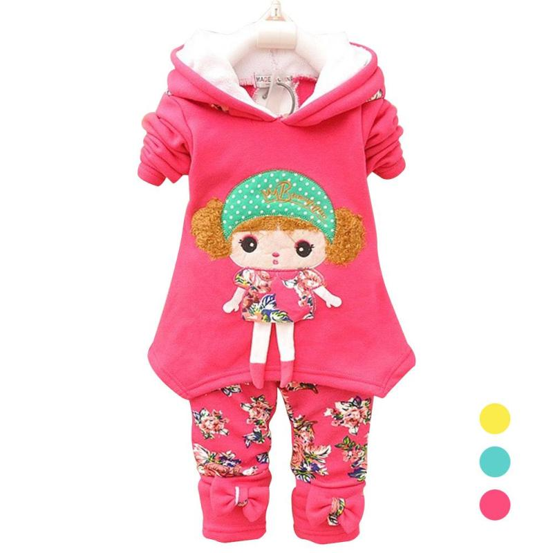 Lovely Winter Baby Girl/boy Clothing Set Cartoon Cotton Long-sleeved T-shirt+pant 2pcs Kids Sport  Warm Clothing Set WD2 summer baby boy clothes set cotton short sleeved mickey t shirt striped pants 2pcs newborn baby girl clothing set sport suits