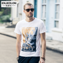 Enjeolon brand 2017 short sleeve print male t shirts cotton O neck clothing base black white
