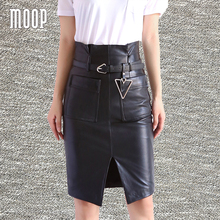 American style women black genuine leather sheepskin lamb pencil skirt front poskets split design skirts with belt saia LT1595