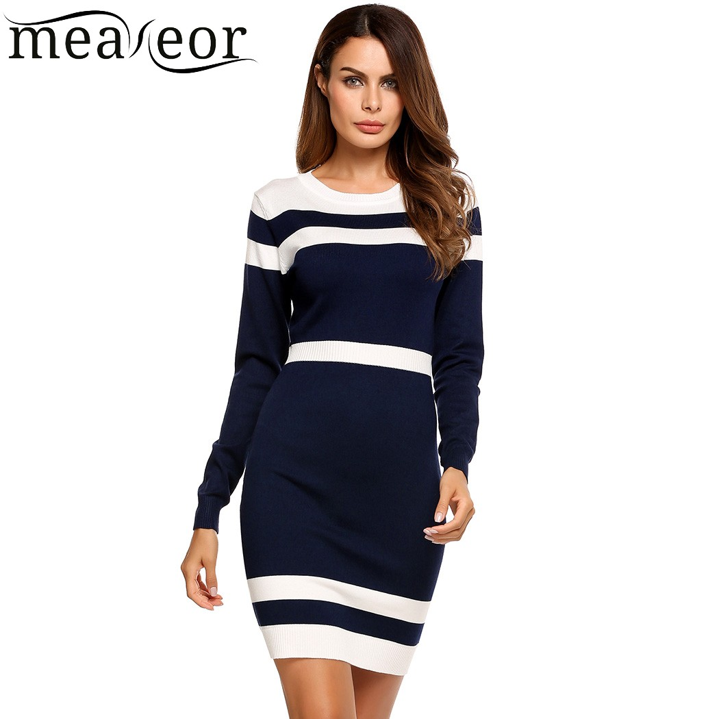 Meaneor Striped Bodycon Pencil Dress Package Hip Color Block High Waist Women Dresses Knitted fabric Soft Autumn Dress Vestidos women color block striped print tie waist dress