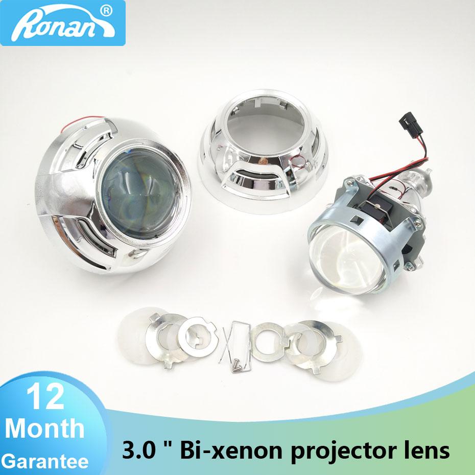 RONAN Car Styling 3.0 inches Pro Metal HID Bi-xenon Projector Lens Headlight Retrofit Xenon Headlamps H1 H4 H7 LHD/RHD For bmw car styling automobiles wst ccfl angel eyes halo hid bi xenon lens projector headlight retrofit h1 h4 h7 headlamp lenses lhd rhd