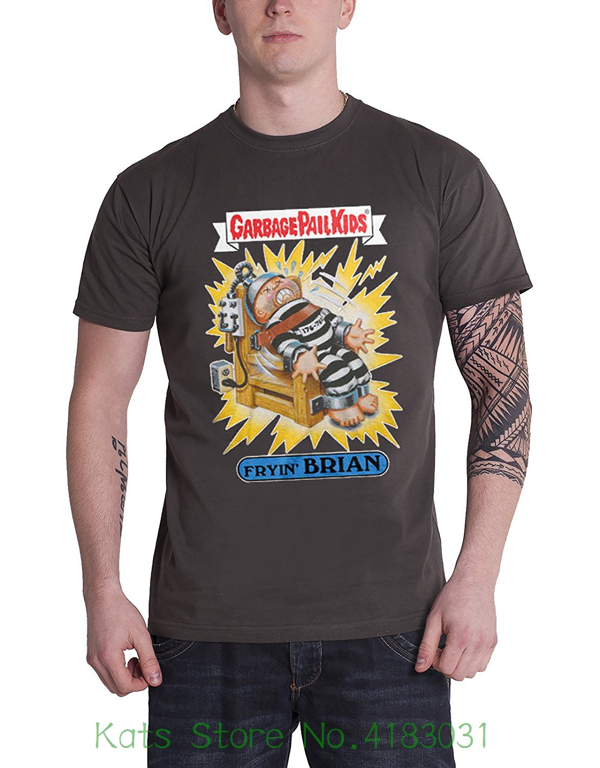 Garbage Pail Kids Officially Licensed Merchandise Fryin&acute ; Brian T-shirt ( D.grey ) Mens O-neck Printed Tee Shirt
