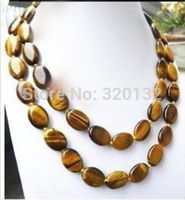 Natural 13x18MM Oval Tiger Eye Beads Necklace 36 Solid Gold Clasp Silver Hook bridal Woman's Jewellery