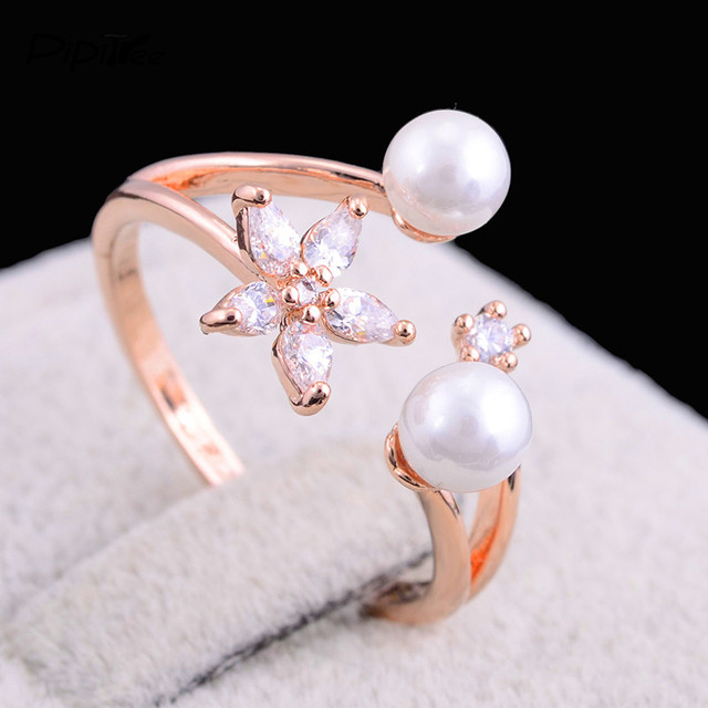 Pipitree Schone Cz Kristall Stein Blumen Simulierte Perle Ring