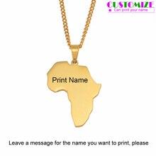 Anniyo настроить имя Африка Карта ожерелья для женщин девочек, может напечатать ваше имя, золотой цвет из нержавеющей стали карты Африки#055521