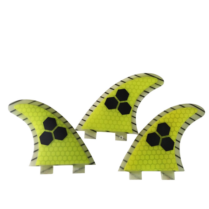 Quilhas FCS G5 Surfboard Fins yellow Surfing Fins Honeycomb Fin thruster