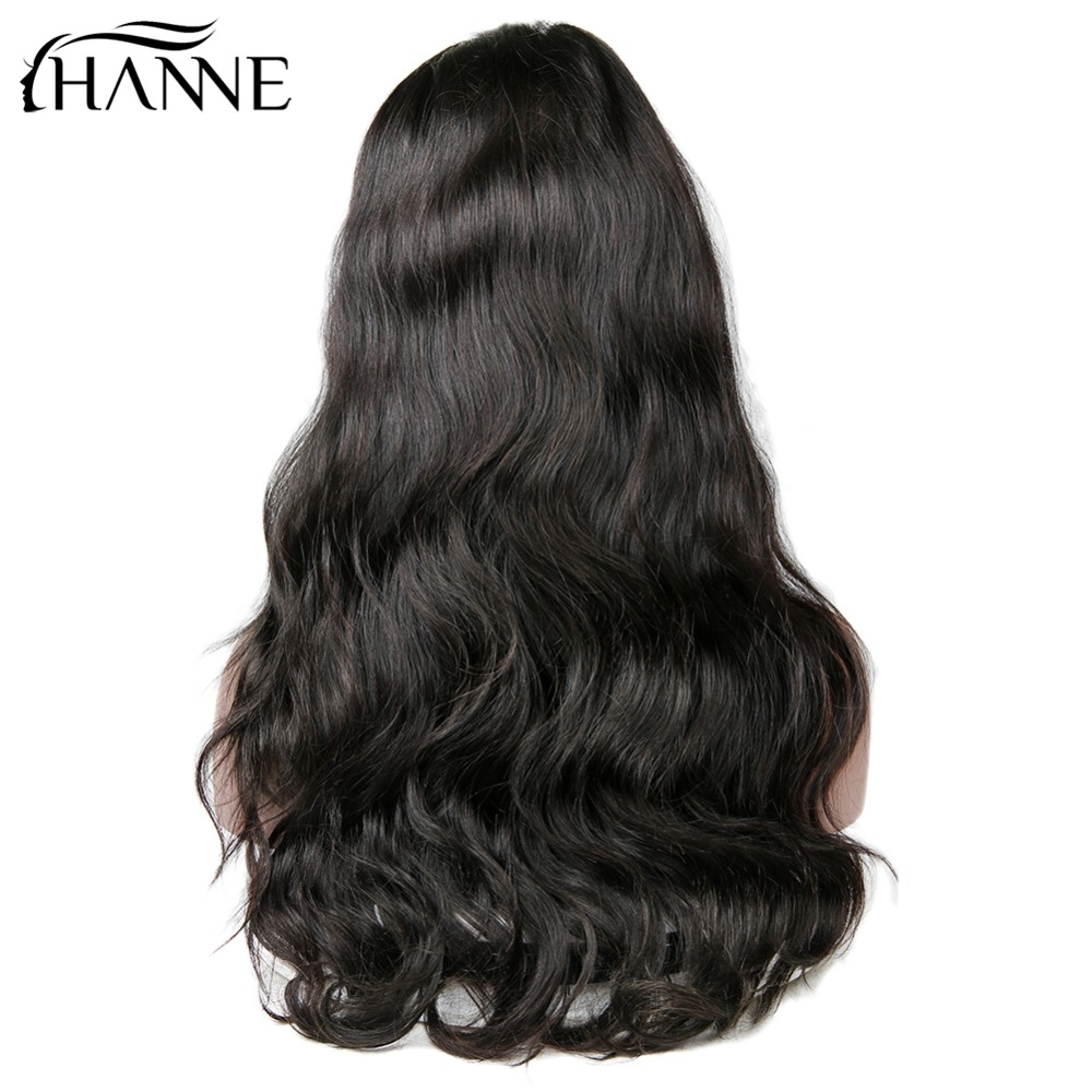 HANNE Hair Brazilian Body Wave Full Lace Front Free Part Wigs Remy Human Hair Pre Plucked Hair For Black Women Natural Black