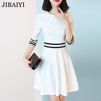 Brief Style White Dress High Quality Spring Summer Half Sleeve Mini Dress Female Fit And Flare