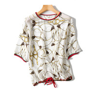 women fashion vintage printed silk t shirt oneck pullover short sleeve white 2color one&over size