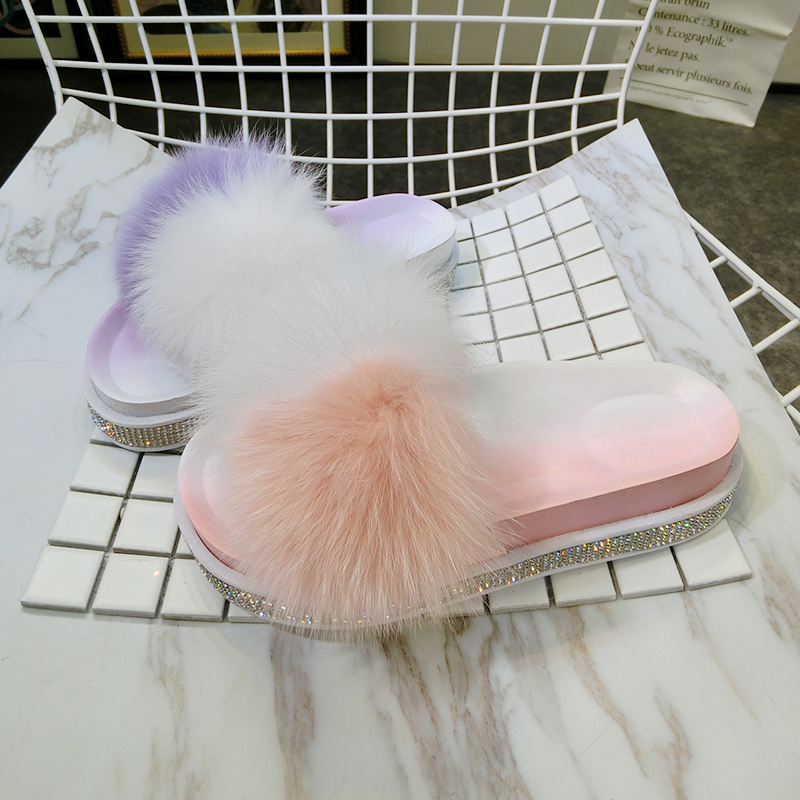 Sommar Kvinnors Furry Tofflor Luxury Lady Plush Fluffy Tofflor - Damskor - Foto 5