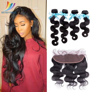 Sevengirls Grade 10A  Peruvian Unprocessed Virgin Hair Bundles With Frontal 13x4 Pre Plucked Human Hair Frontal Free Shipping