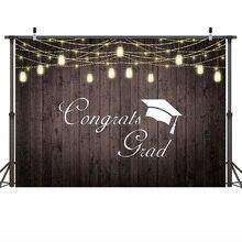 Wood Floor Background Celebration Graduation Party Backdrop Photographic Banner for Classmate Vinyl Cloth 7x5FT
