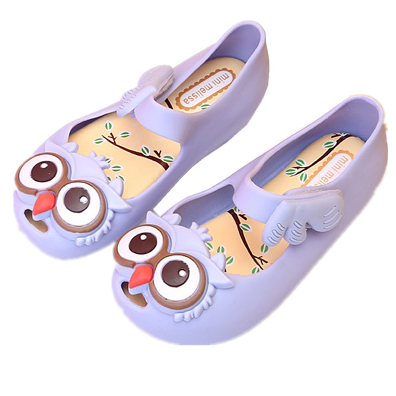 hot Mini Melissa Owl anti skid Sandals Owl Jelly Shoes Children Girls Sandals kids Shoes Girls Beach sandals Soft Shoes