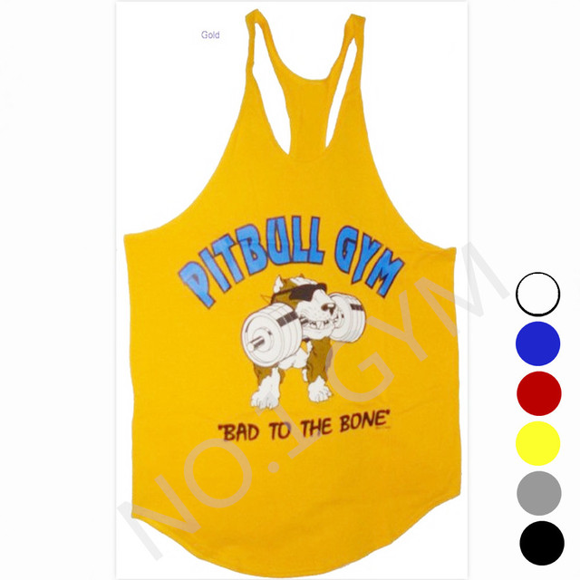 0031035547155 New Arrival Pitbull Muscle Tank Top Gym Vest Bodybuilding Clothing 100%  cotton Drop shipping