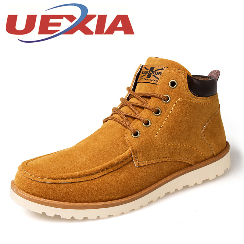 Men Boots Fashion Suede Leather Winter Boots For Men New Design Man Breathable Ankle Boots Lace Up Rubber Booties Mens Work Shoe
