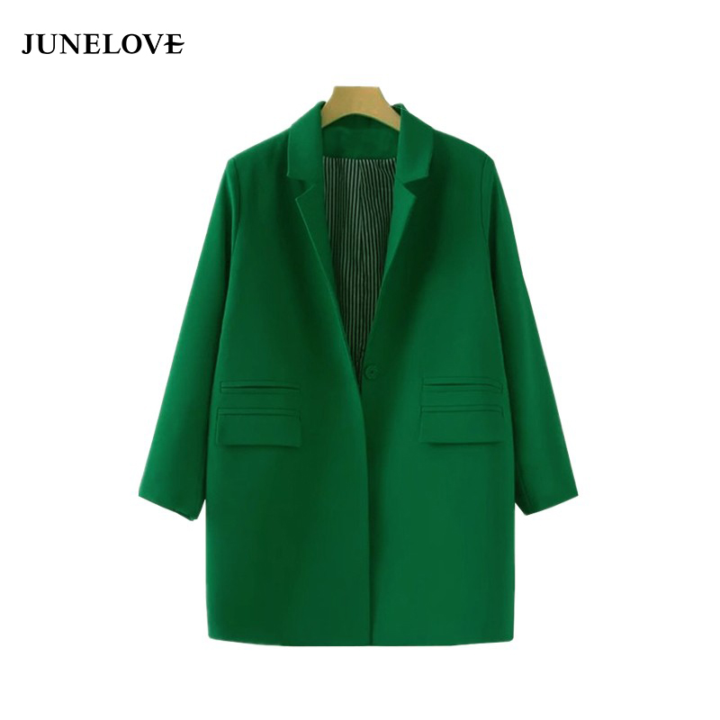 JuneLove 2018 women coat jacket autumn double pockets Long sleeve jacket coat S-XXXL plus size outwears