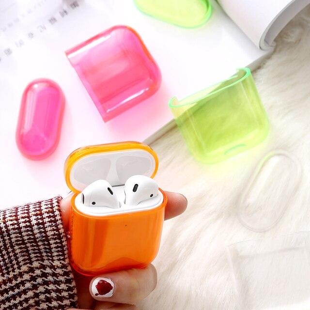 עבור אפל אוויר תרמילי טעינת אוזניות תיבת קשה שקוף אלחוטי Bluetooth אוזניות מקרה עבור Airpods מקרה