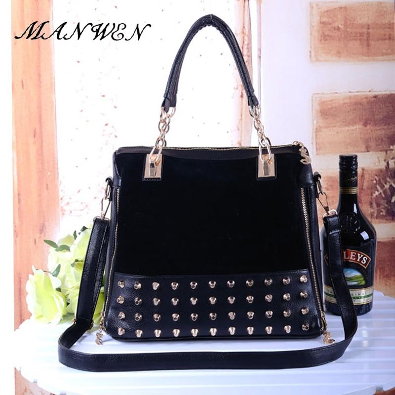 цены на Rivet Vintage PU Leather Female Handbag Fashion Messenger Bag Women Shoulder Bag Larger Top-Handle Bags Travel Bag в интернет-магазинах