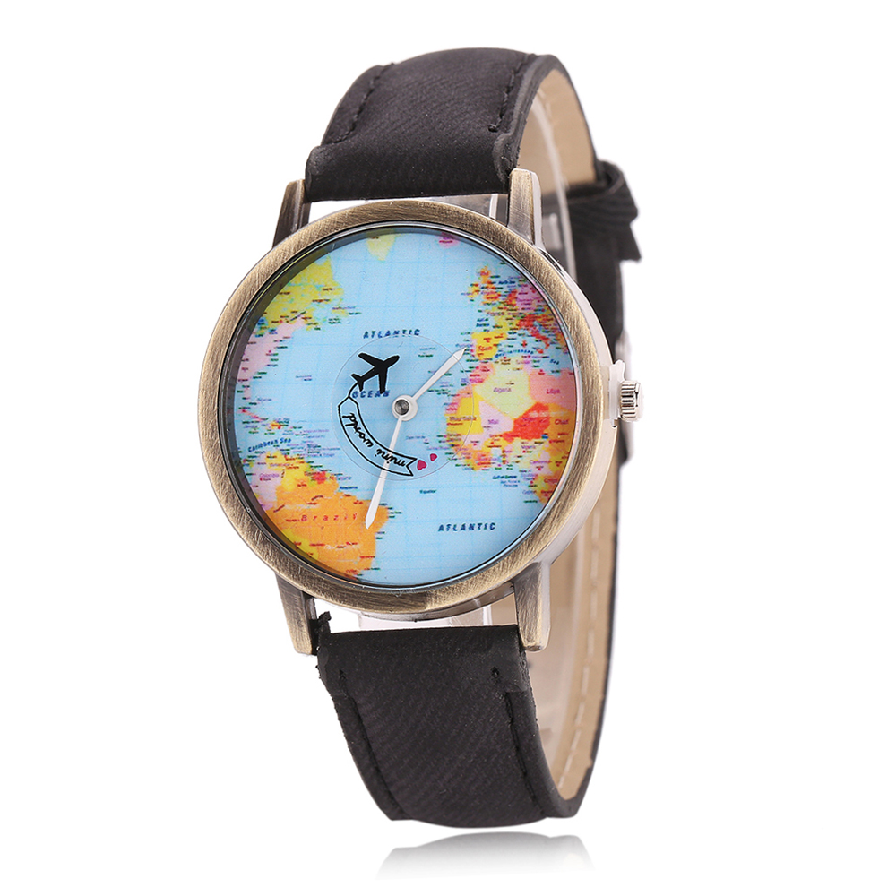 Newly Design Mini World Map Watch Men Women Gift Watches Unique Designer Fashion Time Quartz Men Clock Dress Watches Reloj Mujer
