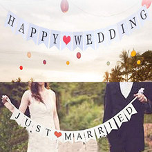 Village White Just Married Happy Wedding Bunting Banner Photo Booth Props Romantic Paty Paper Photobooth Decoration