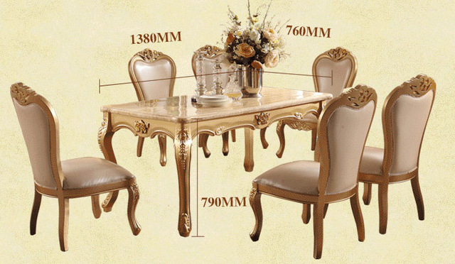 Dining Room Marble Dining Table Set Luxury European Style Restaurant Table  Chair Sets Hk01