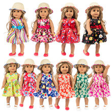"For 18"" girl Doll Hawaii flower dress and straw hat girls doll outfits also suit for baby doll dress(China)"