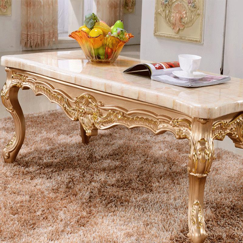 The New French Champagne Wood Tea Table Small Apartment Living Room European Style Marble Coffee Table In Coffee Tables From Furniture On Aliexpress Com