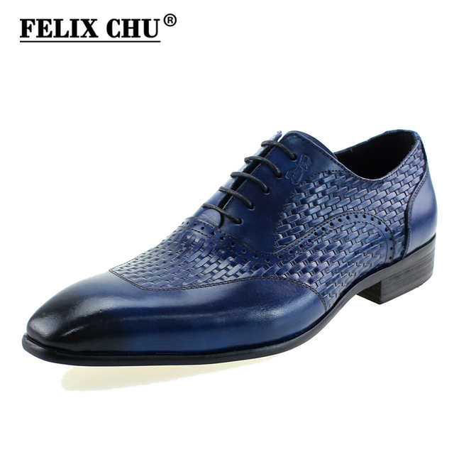 2019 Genuine Leather Oxford Shoes Men Elegant Office Work Pointed Toe Lace Up Mens Business Dress Shoes High Quality Black Blue