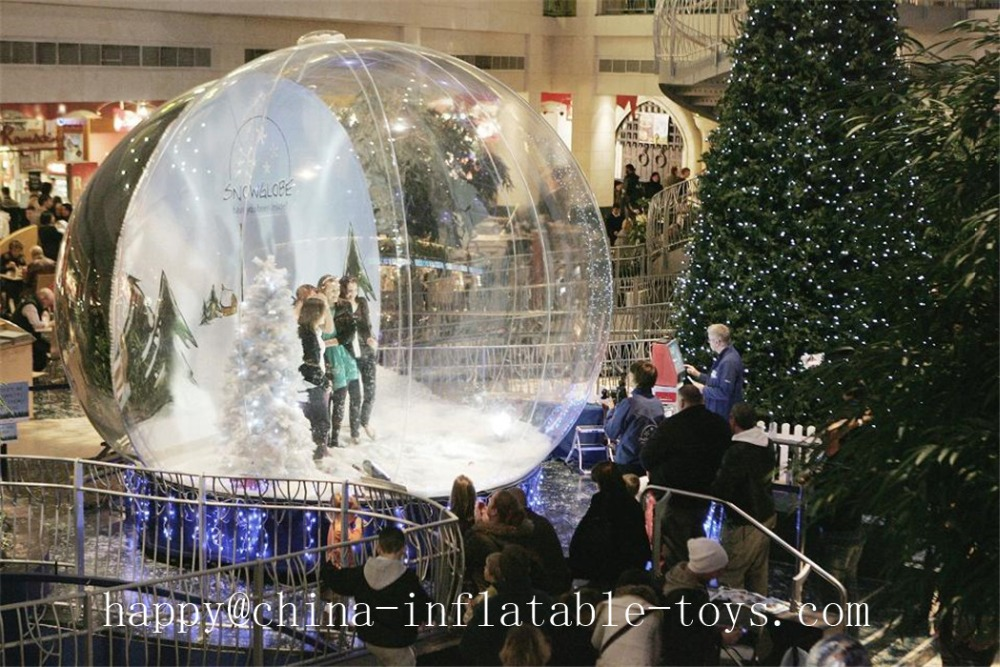 Customized Large Transparent Snowball For Chrismas 4m Hot Sale Decoration Inflatable PVC Balloons tama 7an