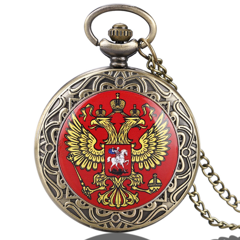 Vintage Bronze New Russia's Double-headed Eagle Quartz Pocket Watch Men Women Russia Style Pendant Watches High Quality