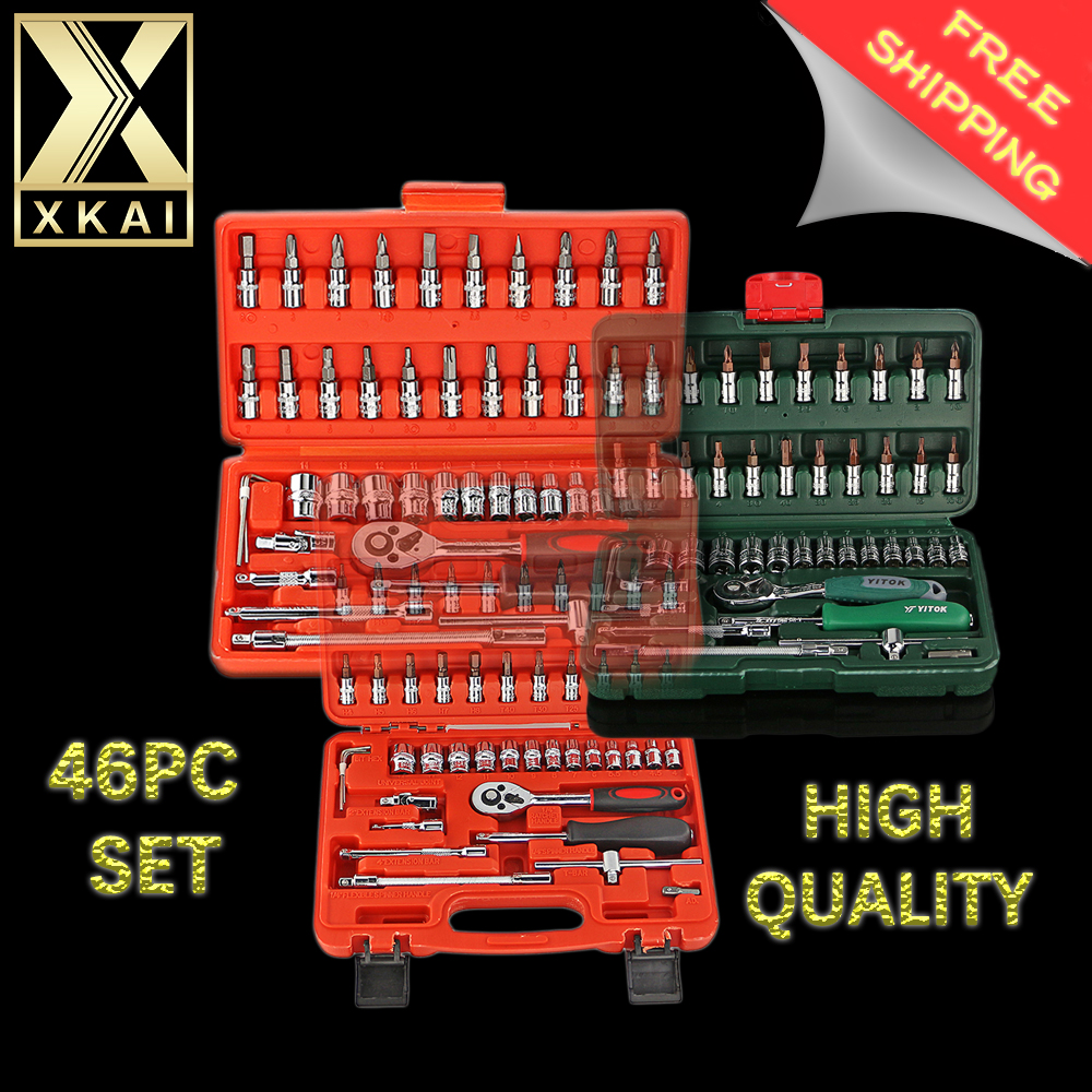 XKAI Free Shipping 3 kind 46pc High Quality Socket Set Car Repair Tool Ratchet Set Torque Wrench Combination Bit a set of keys mainpoint 1 4 1 2 3 8 e socket sockets set cr v torx star bit combination drive socket nuts set for auto car repair hand tool