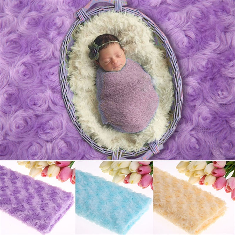 New 1Pc Newborn Soft Photography Props Baby Photo Rose Floral Backdrop Plush Blanket