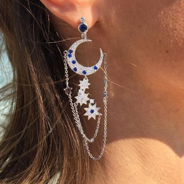GODKI Luxury Star Moon Tassels Full Cubic Zirconia CZ Engagement Wedding Party Nightclub  Statment Earrings