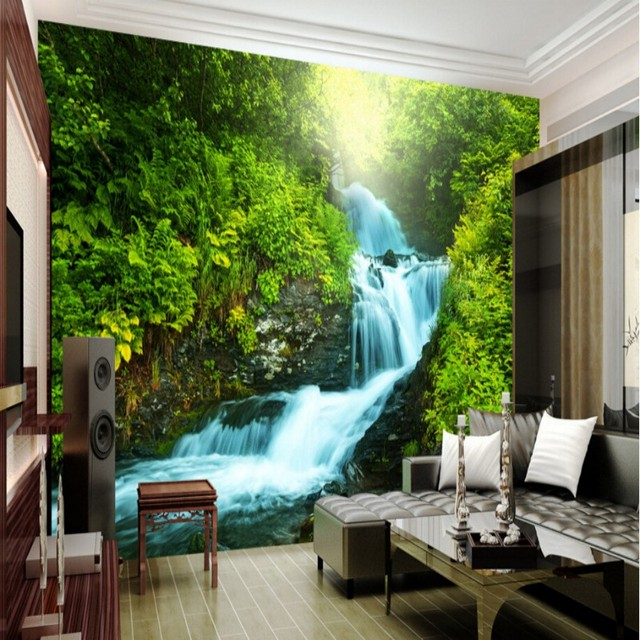 Beibehang Nach Natur Tapete D Stereoskopischen D Foto Wand Wohnzimmer Hintergrund Zimmer Wasserfalle Natur Landschaft Tapete