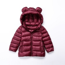 8cf49bfd3b Autumn winter children Down Jackets Long sleeves bear ear light then Keep  warm with Caps kids