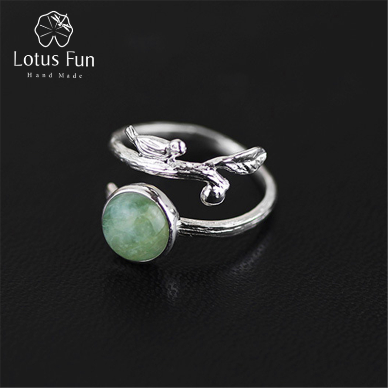 Lotus Fun Real 925 Sterling Silver Natural Beryl Stone Creative Handmade Designer Fine Jewelry Vintage Rings for Women Bijoux