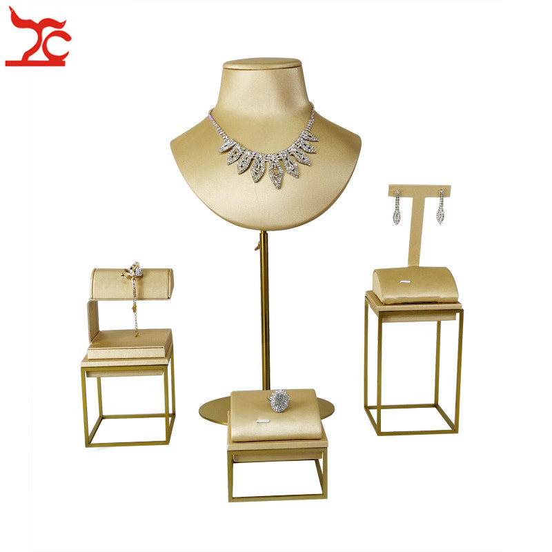New Quality Jewelry Store Gold Stainless Steel Window Showcase Ring Earring Bracelet Watch Necklace Jewelry Display Stand Kit