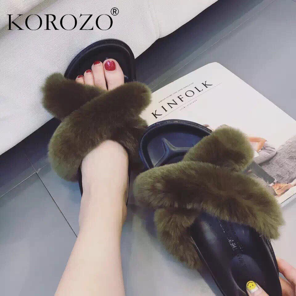 424bba59c68192 2016 Fashion Women Rabbit Fur Slides Flip Flops Furry Slippers Flat Heel  Ladies Platform Sandals Fur Slippers Slip On Shoes