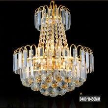 現代ゴールドledクリスタルシャンデリアライトd400 * 450ミリメートル天井シャンデリア器具ダイニングルーム寝室の照明
