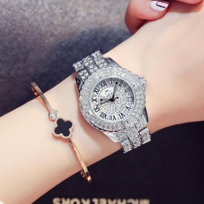 Prix pour 2017 Nouvelles Femmes De Mode Montres, haute Qualité Autrichien Diamant Femmes Strass Montres, Or Rose Femme Lady Robe Montre Horloges
