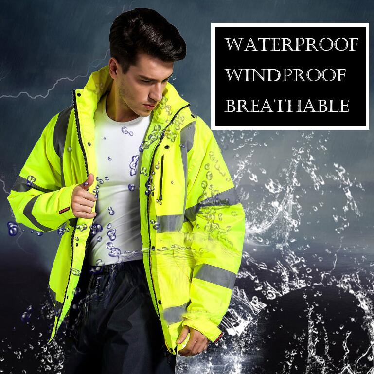 SPARDWEAR Men's high visibility waterproof winter bomber jacket safety reflective jacket fluorescent yellow jacket for male