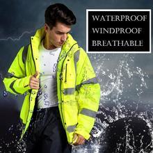 Spardwear Мужская Высокая Видимость Водонепроницаемая зимняя куртка-пилот безопасности светоотражающие куртка флуоресцентный желтый пиджак для мужчин