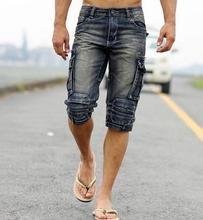 Free shipping retro male tooling to do the old washed denim shorts trousers men American casual