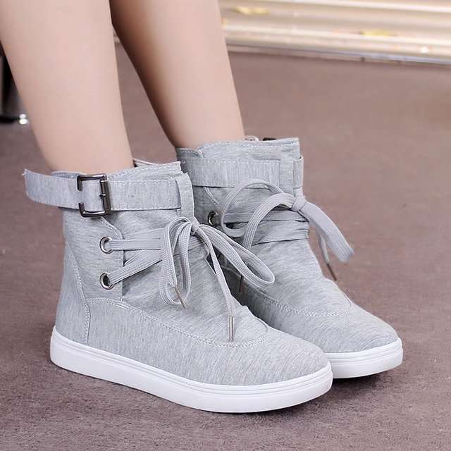Women boots lace up solid autumn boots buckle rubber metal decoration canvas shoes woman black/gray ankle boots for women