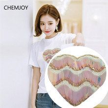 Sewing on Heart Sequined Big Patch for Woman Clothes DIY Craft Clothing Repair DIY Decoratoin Patches Accessories